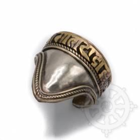 Bague métal avec OM MANI doré