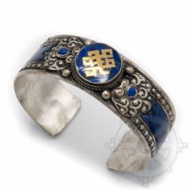 Bracelet argenté incrusté de pierres couleurs lapis - Noeud de l'infini