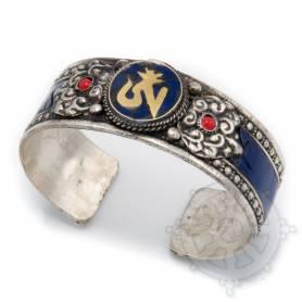 Bracelet argenté incrusté de pierres couleurs lapis - OM