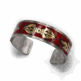 Bracelet argenté incrusté de pierres rouges - Dorjé