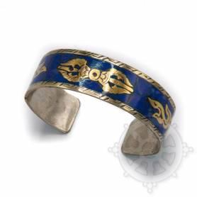 Bracelet argenté incrusté de pierres bleues - Dorjé