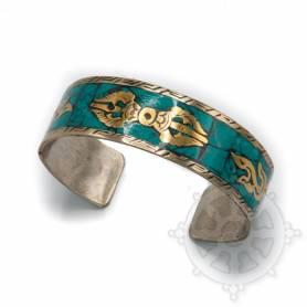 Bracelet argenté incrusté de pierres turquoises - Dorjé