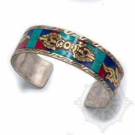 Bracelet argenté incrusté de pierres multicolores - Dorjé