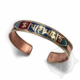 Bracelet cuivré incrusté de petites pierres multicolores - OM MANI