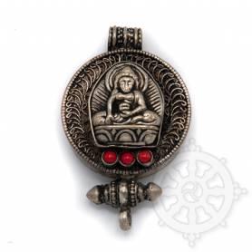 Ghau argenté incrusté de pierres - Bouddha Shakyamuni