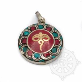 Pendentifs en Métal Argenté/Turquoise/Corail avec motif Yeux du Bouddha
