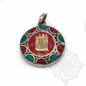 Pendentifs en Métal Argenté/Turquoise/Corail avec motif Kalachakra