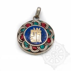 Pendentifs en Métal Argenté/Turquoise/Lapis/Corail avec motif Kalachakra