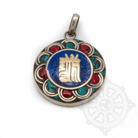 Pendant with turquoise/lapis/coral - Kalachakra lapis - Jewellery Tibet and  Nepal