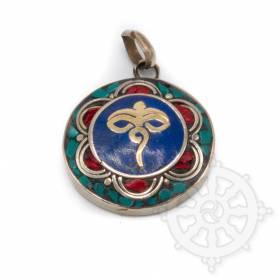 Pendentifs en Métal Argenté/Turquoise/Lapis/Corail avec motif Yeux du Bouddha