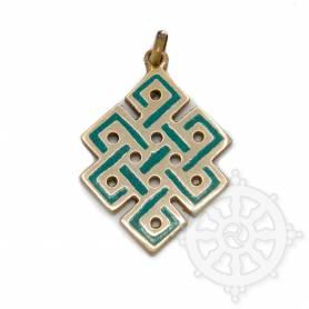 Pendentif en cuivre incrusté turquoise - Noeud de l'infini