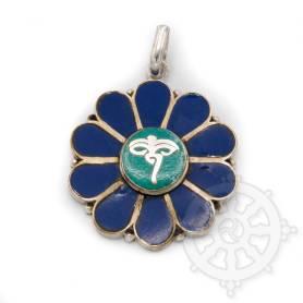 Pendentif laiton incrusté de pierres - Yeux du Bouddha turquoise