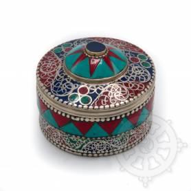 Boîte reliquaire argentée incrustée de pierres - Etoile rouge et turquoise