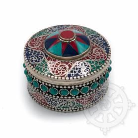 Boîte reliquaire argentée incrustée de pierres - Croix rouge, turquoise et bleu