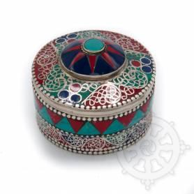 Boîte reliquaire argentée incrustée de pierres - Etoile rouge et bleu