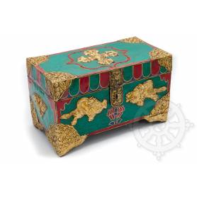 Superbe coffre en bois incrusté de pierres pour le stockage de reliques ou objets rituels