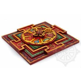 Magnifique scuplture en bois d'un Mandala en 3D