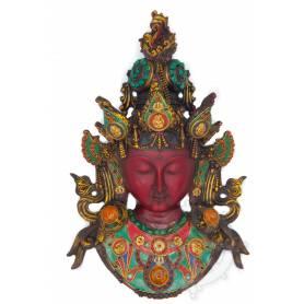 Pièce unique! Un majestueux masque de Tara Verte incrustée de pierres (Résine)