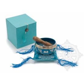 Idée cadeau incluant un bol de méditation turquoise avec coussin coordonné et stick !
