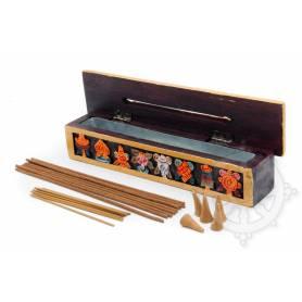 Boîte brûleur d'encens en bois peint, rectangulaire, petite