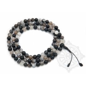 Malas de 108 perles en agate noire et blanche) (8mm)