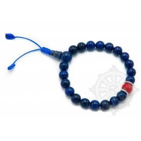 Malas pour poignet composé de 20 perles lapis-lazuli(8mm), 1 corail(10mm)