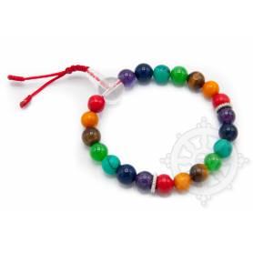 Malas pour poignet composé de perles (8mm) 7 chakras incluant: corail, ambre, oeil de tigre, jade, turquoise, lapis-lazuli, amét