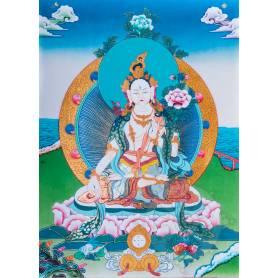 Exceptionnelle thangka de Tara Blanche Av. brocart 70x110cm (Peint. 50cmx38cm) Qualité monastère
