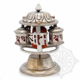 Pièce unique! Triple moulins à prières fonctionnant sur deux systèmes d'axes (Bronze recouvert d'argent)