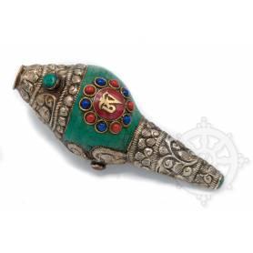 Shanka ou Conque rituelle offrande de taille moyenne- OM MANI dans lotus incrustée de métal - OM central rouge