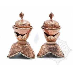 Magnifique paire de Kapala avec support (paire)