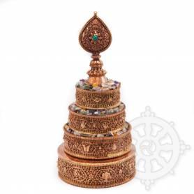 Unique! Magnifique jeu de plateaux pour offrande du Mandala finement sculpté (Cuivre massif)