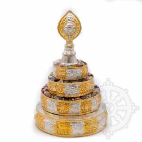Jeu de plateaux pour offrande du Mandala (couleur or/argent) - Excellent rapport qualité/prix