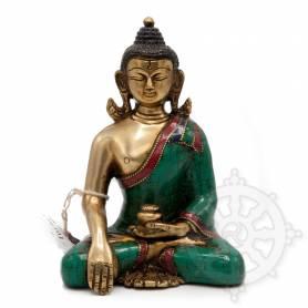 Bouddha Shakyamuni(H. 17 cm-Statues en laiton incrusté de pierres)