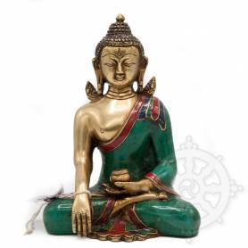 Bouddha Shakyamuni(H. 21 cm-Statues en laiton incrusté de pierres)