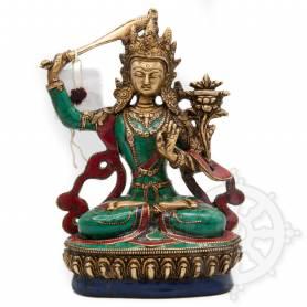 Manjushri(H. 21 cm-Statues en laiton incrusté de pierres)
