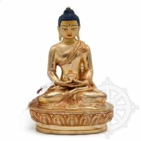 Sublime pièce d'artisanat! Statue de Bouddha Amitabha(H. 16 cm-Statues plaquées or 24k)
