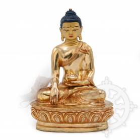 Sublime pièce d'artisanat! Statue de Bouddha Shakyamuni(H. 16 cm-Statues plaquées or 24k)