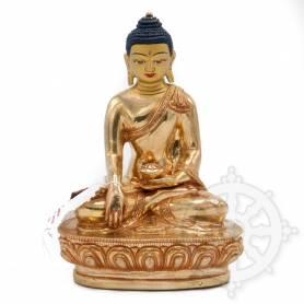 Sublime pièce d'artisanat! Statue de Bouddha Shakyamuni(H. 15 cm-Statues plaquées or 24k)