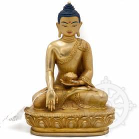 Pièce UNIQUE! Statue de Bouddha Shakyamuni(H. 16 cm-Statues plaquées or 24k)