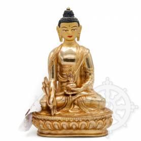 Sublime pièce d'artisanat! Statue de Bouddha Sangye Menla(H. 15 cm-Statues plaquées or 24k)