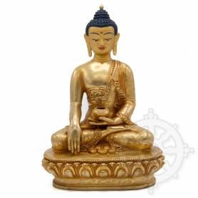 Pièce UNIQUE! Statue de Bouddha Shakyamuni(H. 20 cm-Statues plaquées or 24k)