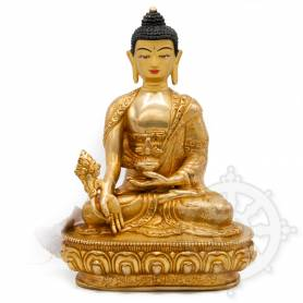 Pièce UNIQUE! Statue de Bouddha Sangye Menla(H. 20 cm-Statues plaquées or 24k)