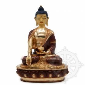 Très belle statue de Bouddha Shakyamuni(H. 22 cm-Statues plaquées or 24k (partiel))
