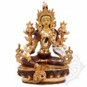 Très belle statue de Tara Verte(H. 20 cm-Statues plaquées or 24k (partiel))