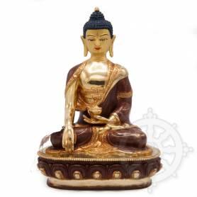 Très belle statue de Bouddha Shakyamuni(H. 20 cm-Statues plaquées or 24k (partiel))
