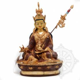 Très belle statue de Guru Rinpoché(H. 23 cm-Statues plaquées or 24k (partiel))