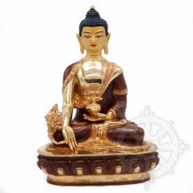 Très belle statue de Bouddha Sangye Menla(H. 20 cm-Statues plaquées or 24k (partiel))