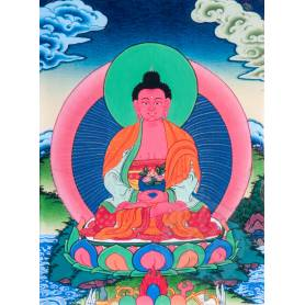 Superbe thangka de Bouddha Amitabha Av. brocart 30x45cm (Peint. 15cmx20cm)