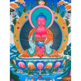 Superbe thangka de Bouddha Amitabha Av. brocart 50x85cm (Peint. 38cmx50cm)